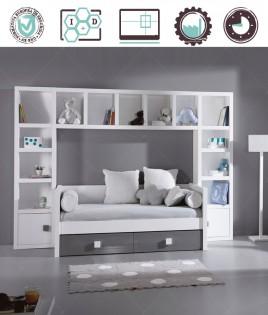 Dormitorio Juvenil en acabado Lacado compuesto por cama con cajones, libreros y puente Ref W12