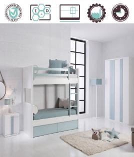Dormitorio Juvenil en acabado Lacado compuesto por litera transformable en 2 camas, mesita y armario 3 puertas Ref W13