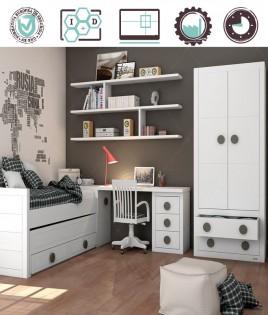 Dormitorio Juvenil en acabado Lacado compuesto por cama compacta, arcón, escritorio y armario 2 puertas Ref W14
