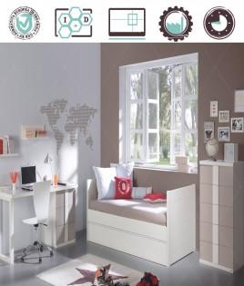 Dormitorio Juvenil en acabado Lacado compuesto por cama nido, xifonier y escritorio Ref W15