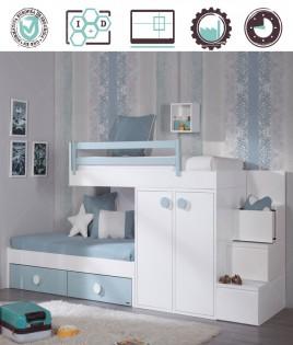 Dormitorio Juvenil en acabado Lacado compuesto por litera tren, armario y escalera Ref W16