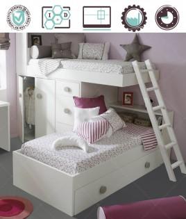 Dormitorio Juvenil en acabado Lacado compuesto por litera tren, armario 2 puertas y cajonera Ref W18