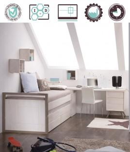 Dormitorio Juvenil en acabado Lacado compuesto por cama compacta, arcón, escritorio y estantes Ref W20