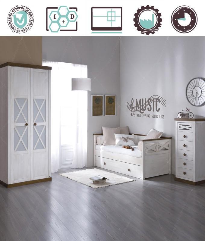 Dormitorio Juvenil en acabado Lacado compuesto por cama nido, armario 2 puertas y xifonier Ref W01