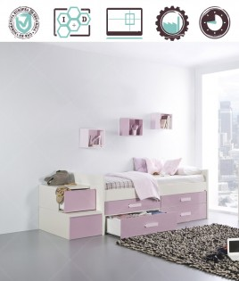 Dormitorio Juvenil en acabado Lacado compuesto por cama con cajones, módulo escalera y estantes Ref W25