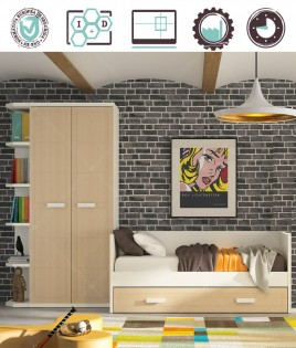 Dormitorio Juvenil en acabado Lacado compuesto por cama nido, armario 2 puertas y terminal Ref W27