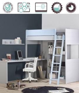 Dormitorio Juvenil en acabado Lacado compuesto por cama, escritorio y estantería Ref W28