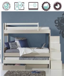 Dormitorio Juvenil en acabado Lacado compuesto por litera con cama extraible adicional y escalera cajonera Ref W29