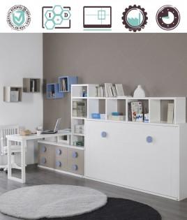 Dormitorio Juvenil en acabado Lacado compuesto por cama abatible horizontal, escritorio, módulo con cajones y estantes Ref W30