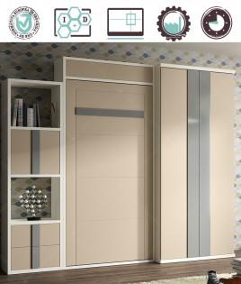 Dormitorio Juvenil en acabado Lacado compuesto por cama abatible vertical con altillo, armario y estantería Ref W31