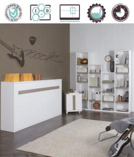 Dormitorio Juvenil en acabado Lacado compuesto por cama abatible horizontal, mesita con ruedas y mueble estantería Ref W32