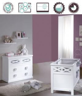 Dormitorio Infantil en acabado Lacado compuesto por cuna, cómoda y estantes Ref W36