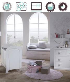 Dormitorio Infantil en acabado Lacado compuesto por cuna, cómoda y estantes Ref W41