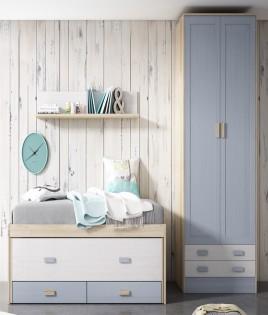 Dormitorio Juvenil fabricado en madera y acabado lacado compuesto por cama compacta, armario 2 puertas y estante Ref JI01