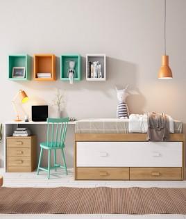 Dormitorio Juvenil fabricado en madera y acabado lacado compuesto por cama compacta, escritorio y estantes Ref JI02