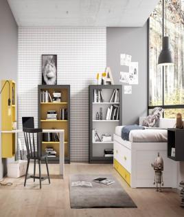 Dormitorio Juvenil fabricado en madera y acabado lacado compuesto por cama compacta, libreros, escritorio y estantes Ref JI03