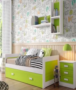 Dormitorio Juvenil fabricado en madera y acabado lacado compuesto por cama nido, mesita y estante Ref JI05