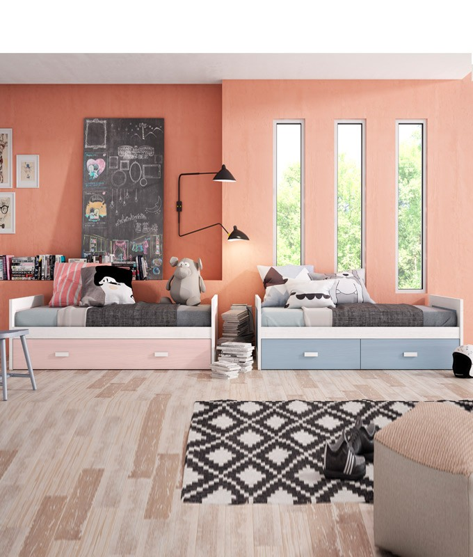Dormitorio Juvenil fabricado en madera y acabado lacado compuesto por cama nido con arrastre y cama nido con cajones Ref JI06