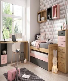 Dormitorio Juvenil fabricado en madera y acabado lacado compuesto por cama compacta, escritorio, xifonier y estantes Ref JI07