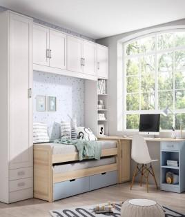 Dormitorio Juvenil fabricado en madera y acabado lacado compuesto por cama compacta, puente, arcón y escritorio Ref JI08