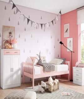 Dormitorio Juvenil fabricado en madera y acabado lacado compuesto por cama, zapatero y mesita Ref JI15