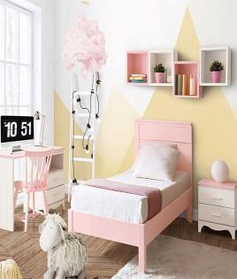 Dormitorio Juvenil fabricado en madera y acabado lacado compuesto por cama, mesita, escritorio y estantes Ref JI24