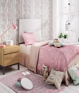 Dormitorio Juvenil fabricado en madera y acabado lacado compuesto por cabecero y mesita Ref JI23
