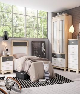 Dormitorio Juvenil fabricado en madera y acabado lacado compuesto por cabecero, armario, xifonier y mesita Ref JI25