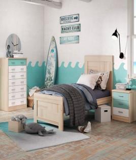 Dormitorio Juvenil fabricado en madera y acabado lacado compuesto por cama, mesita y xifonier Ref JI26