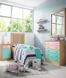 Dormitorio Juvenil fabricado en madera y acabado lacado compuesto por cabecero, mesita, comodín y espejo Ref JI27