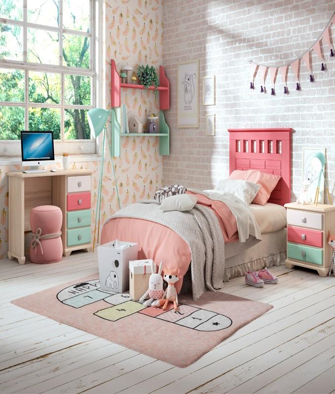 Dormitorio Juvenil fabricado en madera y acabado lacado compuesto por cabecero, mesita y escritorio Ref JI30
