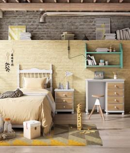 Dormitorio Juvenil fabricado en madera y acabado lacado compuesto por cabecero, mesita, escritorio y estante Ref JI33