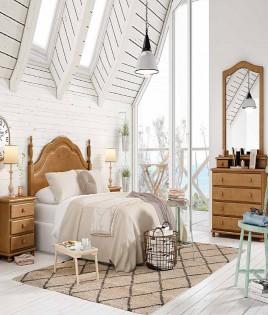 Dormitorio de matrimonio fabricado en madera y acabado lacado compuesto por cabecero, mesitas, comodín y espejo Ref JI37