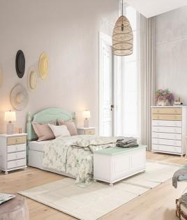 Dormitorio de matrimonio fabricado en madera y acabado lacado compuesto por cabecero, mesitas, arcón y xifonier Ref JI39