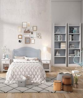 Dormitorio de matrimonio fabricado en madera y acabado lacado compuesto por cabecero, mesitas y estanterías Ref JI40