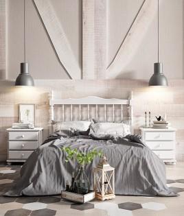 Dormitorio de matrimonio fabricado en madera y acabado lacado compuesto por cabecero y mesitas Ref JI42