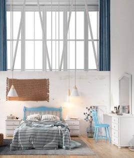 Dormitorio de matrimonio fabricado en madera y acabado lacado compuesto por cabecero, mesitas, escritorio y espejo Ref JI43