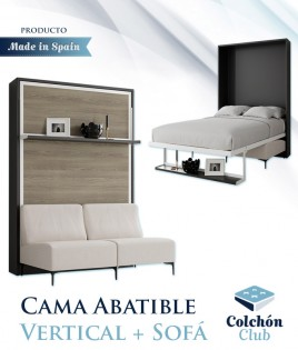 Cama Abatible Vertical con estante y Sofá disponible en diferentes medidas y colores Ref N44000
