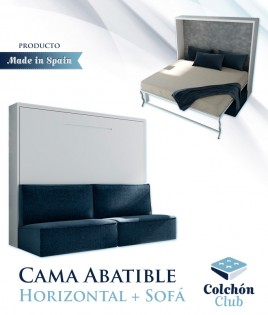 Cama Abatible Horizontal con Sofá disponible en diferentes medidas y colores Ref N45000