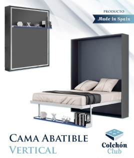 Cama Abatible Vertical con estante sincronizado disponible en diferentes medidas y colores Ref N46000