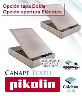Canapé Textil Pikolin disponible con tapa Doble, apertura Eléctrica y opción Cabecero Ref P278100