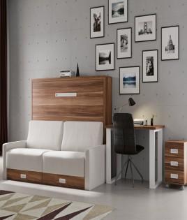 Dormitorio Juvenil cama abatible con Sofá y escritorio Ref N07