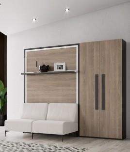 Dormitorio Juvenil cama abatible matrimonial con estante, armario 2 puertas y Sofá Ref N10