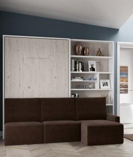 Dormitorio Juvenil Litera abatible matrimonial, estantería y Sofá con chaiselongue Ref N11