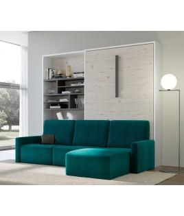 Dormitorio Juvenil cama abatible matrimonial, estantería y Sofá con chaiselongue Ref N12