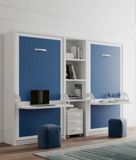 Dormitorio Juvenil con 2 camas abatibles con escritorio, estantería central y cajonera Ref N15