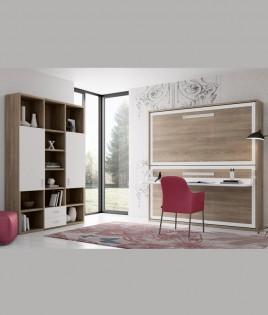 Dormitorio Juvenil Litera abatible con escritorio y estantería Ref N16