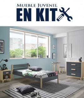 Dormitorio Juvenil fabricado en madera de pino con cama, mesita y cómoda Ref TA03