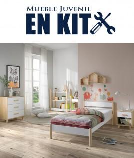 Dormitorio Juvenil fabricado en madera de pino con cama, mesita, cómoda y estanterías Ref TA04