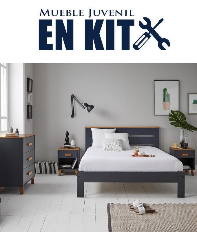 Dormitorio Juvenil fabricado en madera de pino con cama matrimonial, mesitas y cómoda Ref TA05